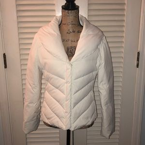 WHBM white down puffer coat